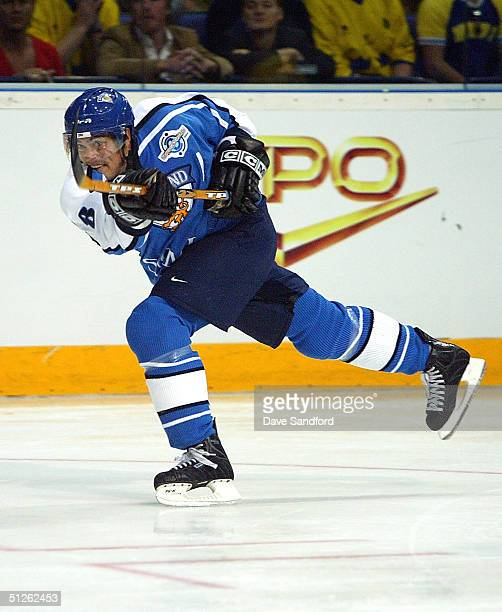 Teemu Selanne of Team Finland fires a slap shot on Team Sweden during a game in the World Cup of Hockey tournament at Hartwall Arena, on September 4,...