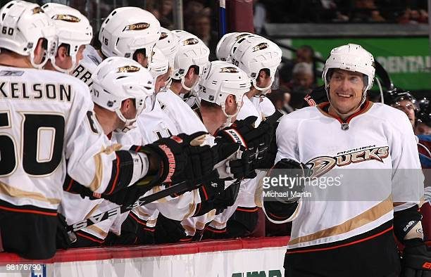 Teemu Selanne of the Anaheim Ducks celebrates his 601st goal during their game against the Colorado Avalanche at the Pepsi Center on March 31, 2010...