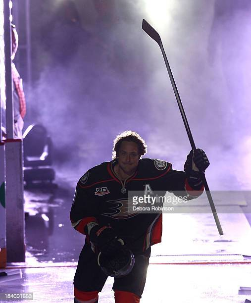 Teemu Selanne of the Anaheim Ducks is introduced before facing the New York Rangers at Honda Center on October 10, 2013 in Anaheim, California.