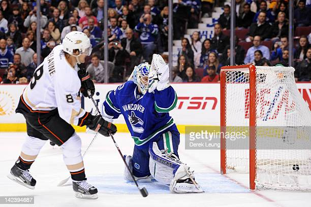 Teemu Selanne of the Anaheim Ducks scores on Cory Schneider of the Vancouver Canucks during shootout in NHL action on April 2012 at Rogers Arena in...