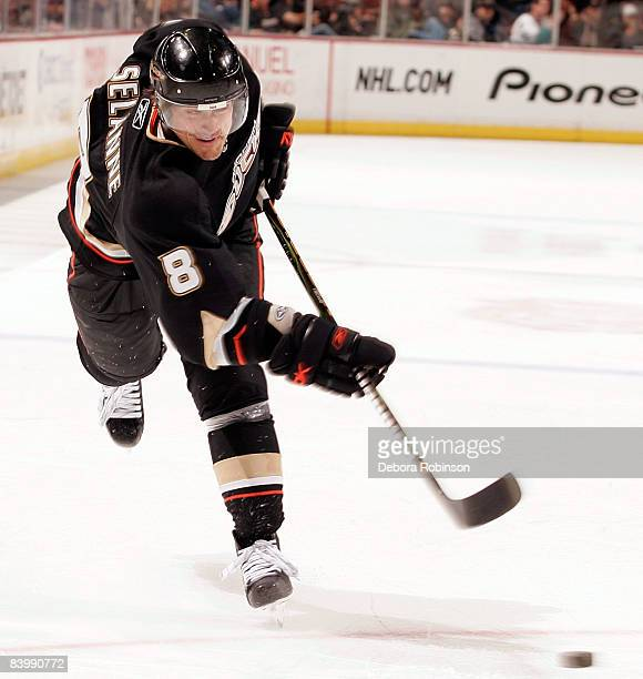 Teemu Selanne of the Anaheim Ducks shoots the puck during the game against the St. Louis Blues on December 10, 2008 at Honda Center in Anaheim,...