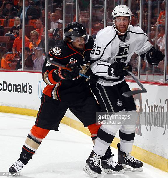 Teemu Selanne of the Anaheim Ducks skates against Jeff Schultz of the Los Angeles Kings in Game Seven of the Second Round of the 2014 Stanley Cup...