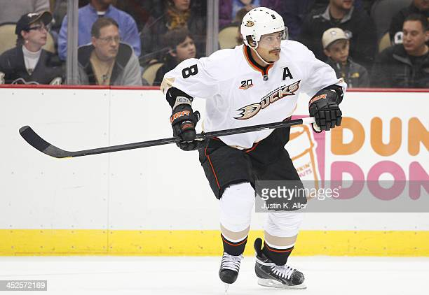 Teemu Selanne of the Anaheim Ducks skates against the Pittsburgh Penguins during the game at Consol Energy Center on November 18, 2013 in Pittsburgh,...