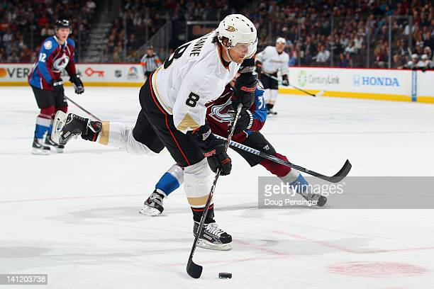 Teemu Selanne of the Anaheim Ducks takes a shot against the Colorado Avalanche at the Pepsi Center on March 12 2012 in Denver Colorado The Avalanche...
