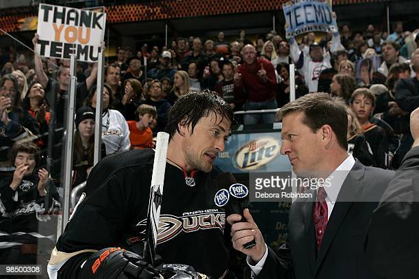 Teemu Selanne of the Anaheim Ducks talks with Fox Sports Patrick O'Neil after a 7-2 win over the Edmonton Oilers after the game on April 11, 2010 at...