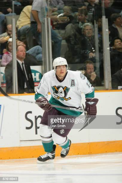 Teemu Selanne of the Anaheim Mighty Ducks skates during a game against the San Jose Sharks on April 15, 2006 at the HP Pavilion in San Jose,...