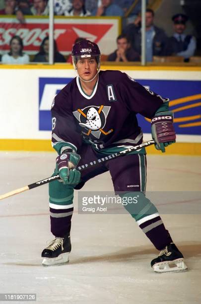 Teemu Selanne of the Mighty Ducks of Anaheim skates against the Toronto Maple Leafs during NHL game action on October 5 1996 at Maple Leaf Gardens in...