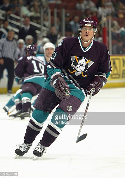 Teemu Selanne of the Mighty Ducks of Anaheim skates against the San Jose Sharks at the Arrowhead Pond on February 1 2006 in Anaheim California The...