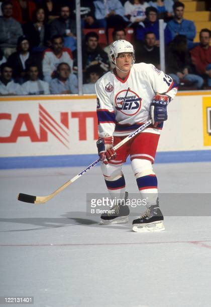 Teemu Selanne of the Winnipeg Jets skates on the ice during an NHL game in March 1993 at the Winnipeg Arena in Winnipeg Manitoba Canada