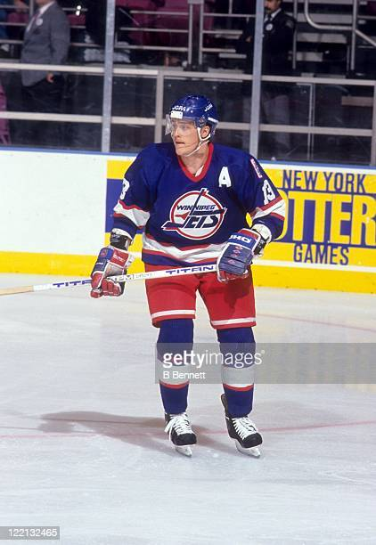 Teemu Selanne of the Winnipeg Jets skates on the ice during an NHL game against the New York Rangers circa 1993 at the Madison Square Garden in New...