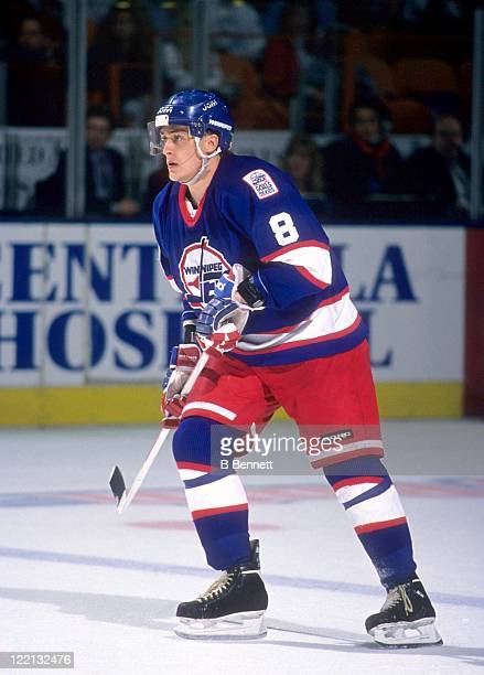 Teemu Selanne of the Winnipeg Jets skates on the ice during an NHL game against the Los Angeles Kings on January 28, 1995 at the Great Western Forum...