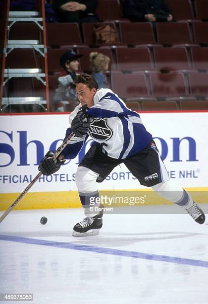 Teemu Selanne of the World and Mighty Ducks of Anaheim skates on ice before the 1998 48th NHL All-Star Game against North America on January 18, 1998...