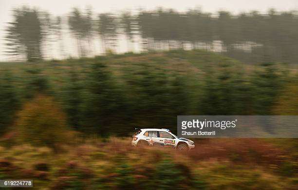 Teemu Suninen and co driver Mikko Markkula of Finland and Team Oreca during the FIA World Rally Championship Great Britain Brenig stage on October 30...