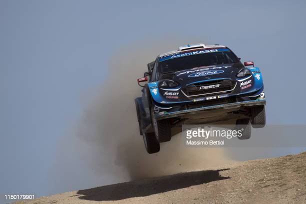 Teemu Suninen of Finland and Jarmo Lehtinen of Finland compete in their MSport Ford WRT Ford Fiesta WRC during Day Two of the WRC Italia Sardegna on...