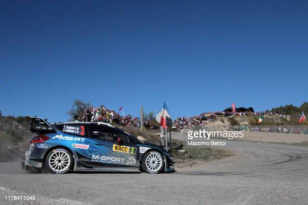 Teemu Suninen of Finland and Jarmo Lehtinen of Finland compete with their M-Sport FORD WRT Ford Fiesta WRC during Day Two of the FIA WRC RACC...