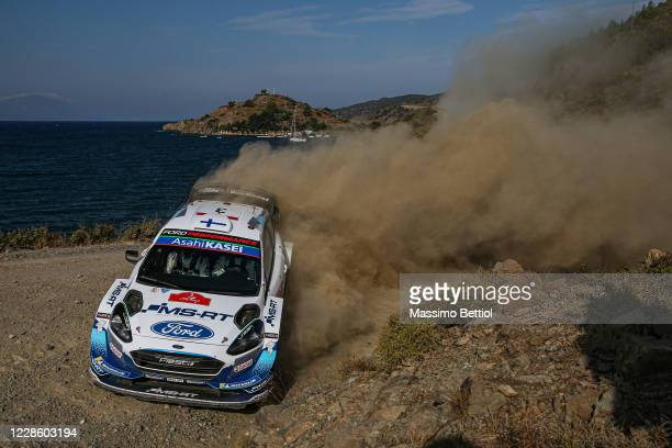 Teemu Suninen of Finland and Jarmo Lehtinen of Finland compete with their M-Sport FORD WRT Ford Fiesta WRC during Day One of the FIA World Rally...