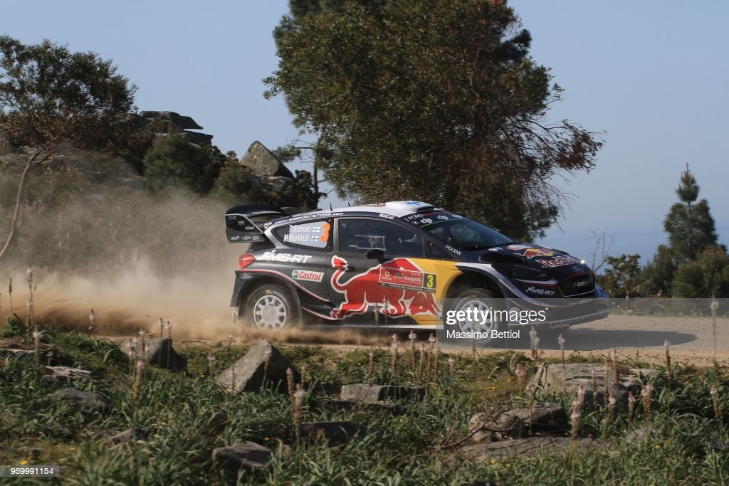 Teemu Suninen of Finland and Mikko Markkula of Finland compete in their M-Sport Ford WRT Ford Fiesta WRC during Day Two of the WRC Portugal on May 18, 2018 in Faro, Portugal.