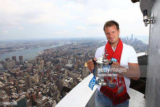 Teemu Tainio of The New York Red Bulls visits The Empire State Building's world famous observatory to promote the Barclays New York Cup Powered By...