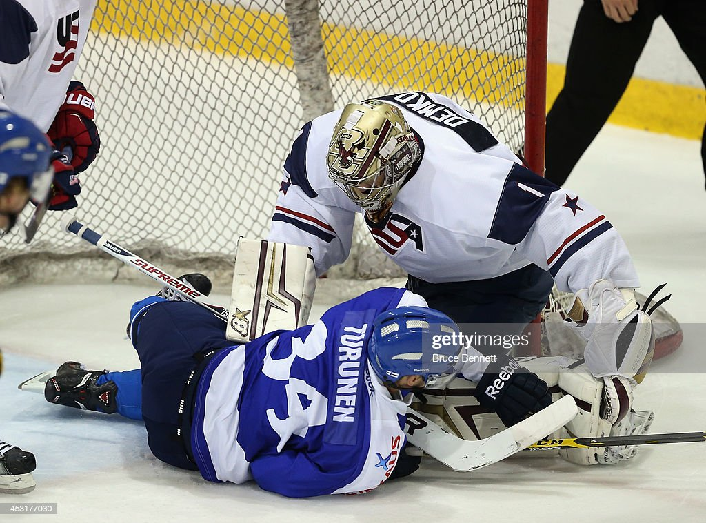 Finland v USA White - 2014 USA Hockey Junior Evaluation Camp : News Photo