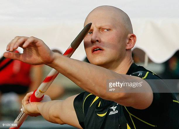 Teemu Wirkkala of Finland throws his javelin during the men's javelin throw in the Kawasaki track and field meet in Kawasaki suburban Tokyo on...