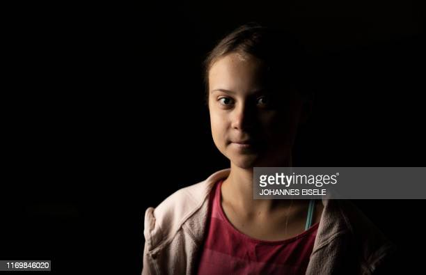 Teen activist Greta Thunberg poses for a picture after an interview ahead of the Global Climate Strike march on September 20, 2019 in New York City....