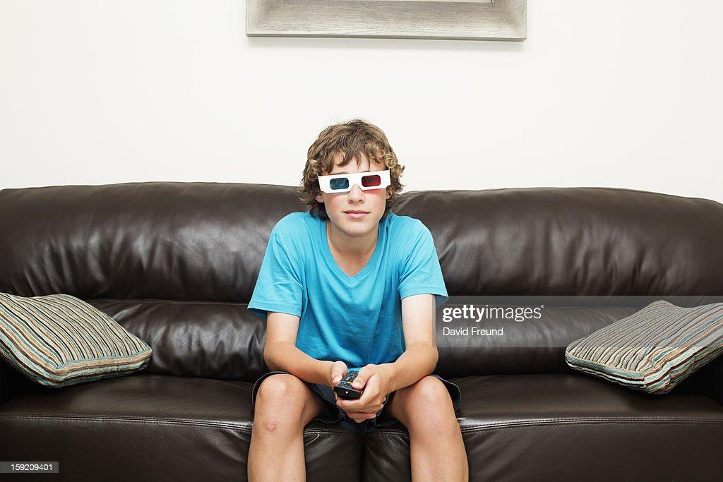 Teen Boy 3D Television : Stock Photo