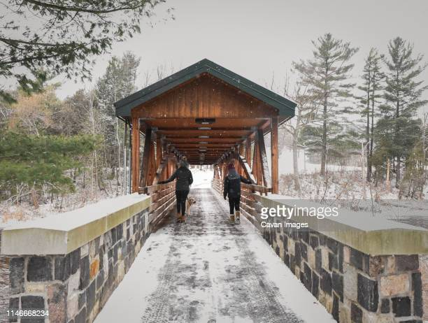 teen boy and girl walking a dog on a snowy covered bridge in winter. - covered bridge stock pictures, royalty-free photos & images