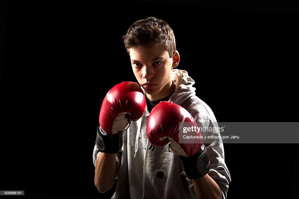 Teen boy in boxer
