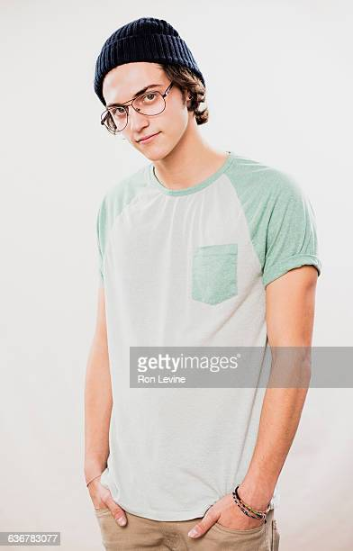 Teen boy, portrait on white