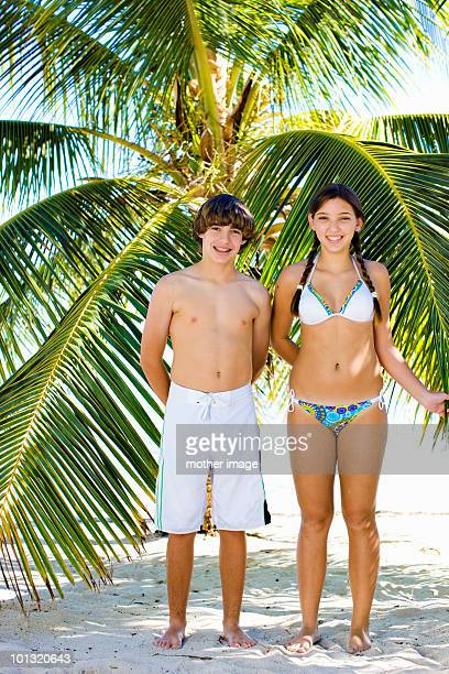 Teen brother and sister on vacation
