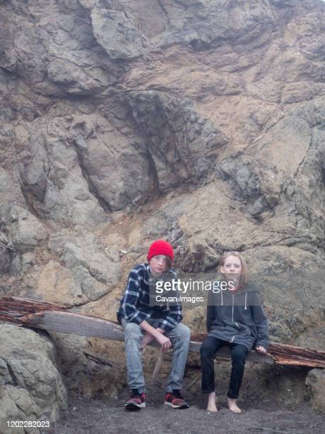 teen brothers sitting on driftwood at the base of rocky cliff - bedrock stock pictures, royalty-free photos & images