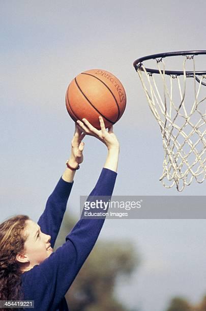 Teen Girl 1415 years Old Shooting Hoops Playing Basketball