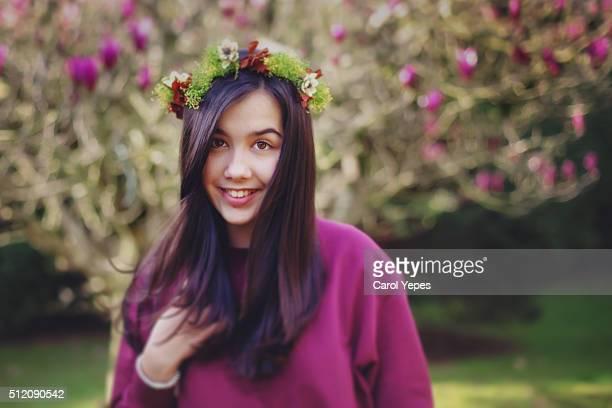 teen girl in floral crown