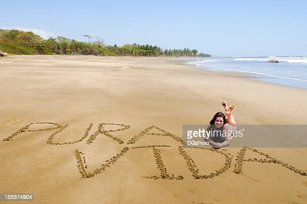 teen girl on costa rican beach - ogphoto stock pictures, royalty-free photos & images