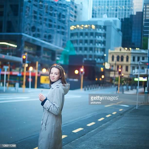 Teen girl on sity street
