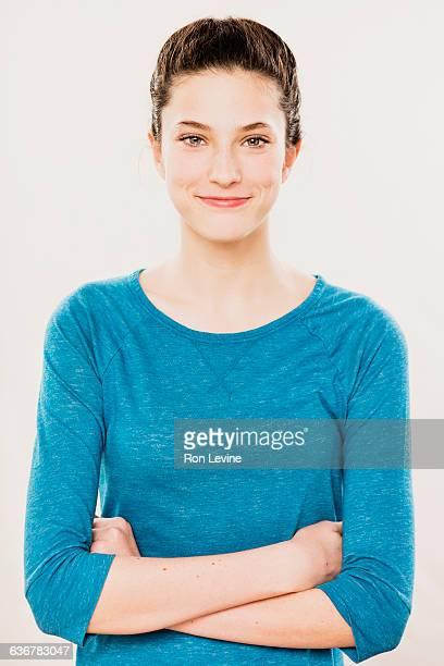 Teen girl, portrait on white