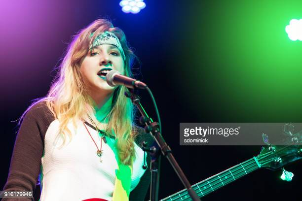 teen girl rock singer - blonde female singers stock photos and pictures