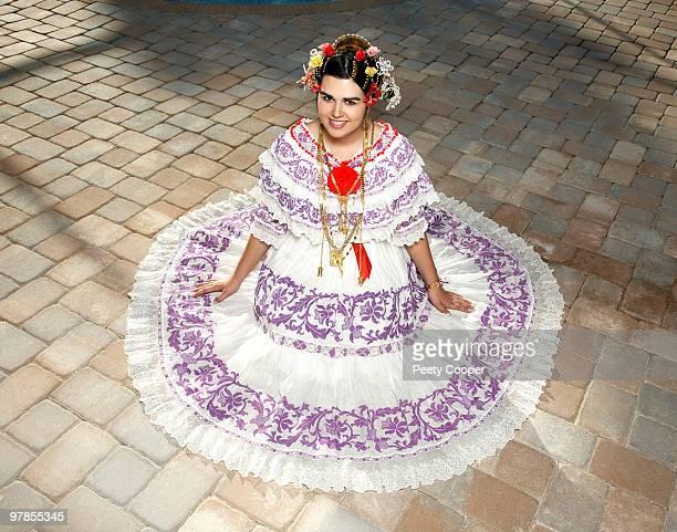 teen girl wearing a traditional Panamanian Pollera