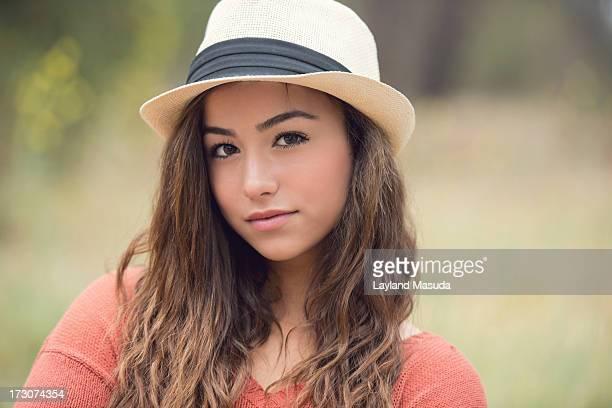 Teen Girl Wearing Fedora Hat
