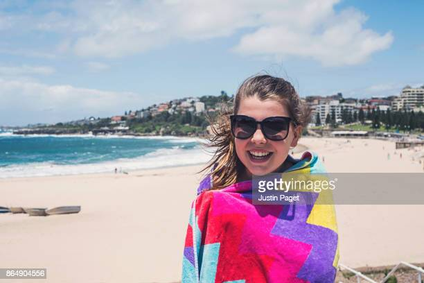 Teen Girl with Beach Towel