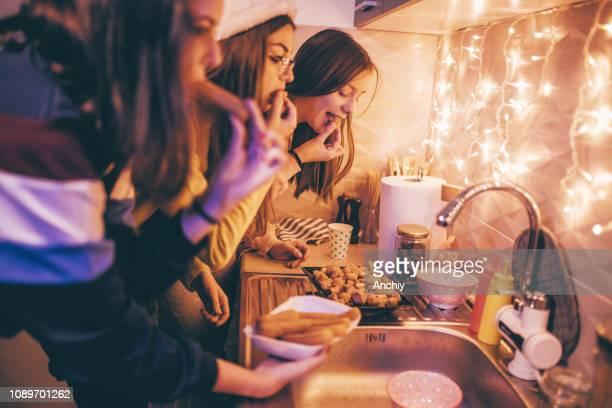 Teen Girls eating fast food