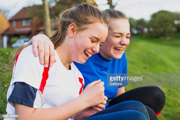 Teen Girls Having Fun at Training