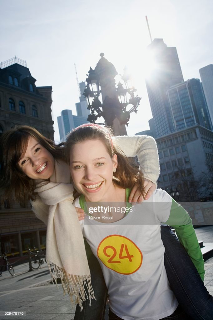 Teen girls in city : Stock Photo
