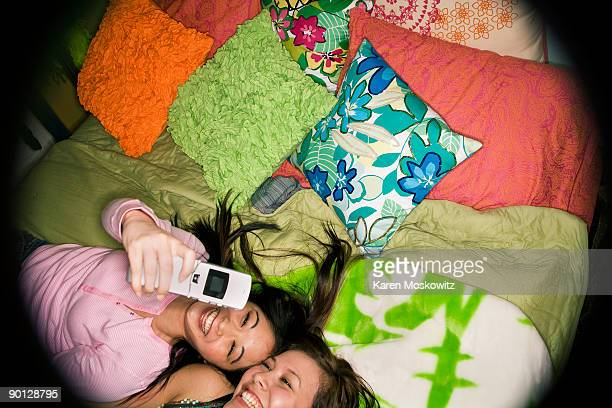 2 teen girls taking photo of themselves