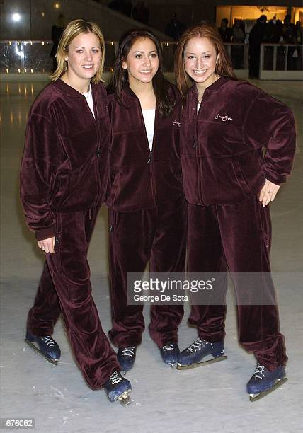 Teen group 'Dream' attends the Sean John Boys and Vibe Magazine Holiday Skating Party December 5 2001 at Rockefeller Plaza skating Rink in New York...
