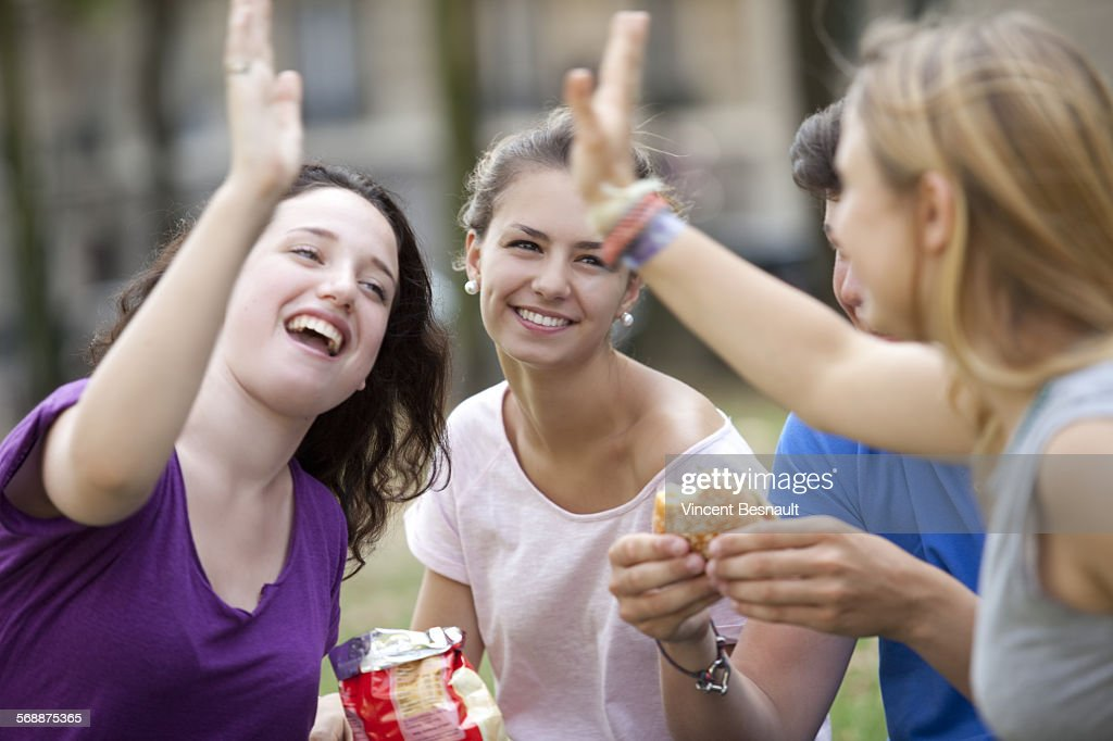 A teen group making a picnic in a park : Stock Photo