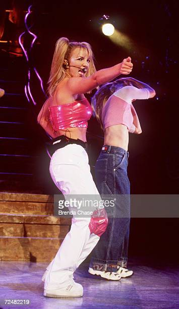 "Teen pop sensation, Britney Spears performing at the Universal Ampitheater for her ""Baby One More Time"" tour in Universal City, CA, July 31, 1999..."