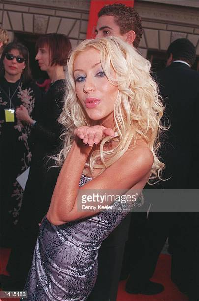 "Teen popstar Christina Aguilera attends The Alma Awards April 16th, 2000 in Pasadena, CA. Her hit song ""Jeannie in a Bottle"" made her the Best New..."