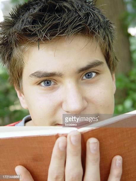 teen portrait - student & book