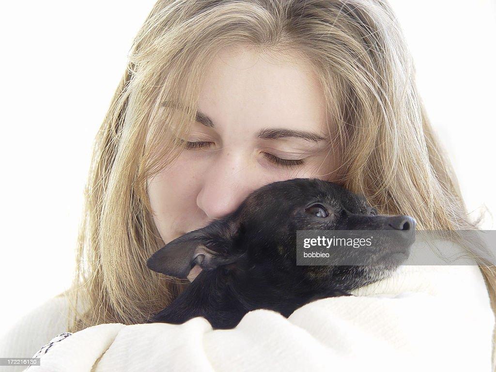 teen - puppy love : Stock Photo